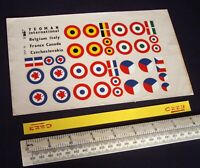 *1960s/70s Vintage Yeoman Flying Model Decals Canada, France, Italy, Belgium etc