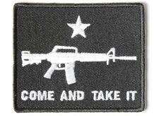 "(H2) COME & TAKE IT MACHINE GUN 3"" x 2.5"" iron on patch (4089) Biker Patches"