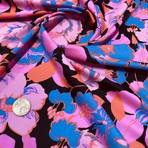 Floral Purple Print Nylon Spandex Fabric 4 Way Strech by Yard