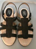 LIFE STRIDE FLATIATOR WOMEN'S SHOES SANDALS SIZE 10 BLACK LEATHER NEWS