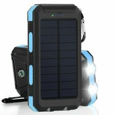 Waterproof 2000000mAh 2 USB Portable Solar Battery Charger Solar Power Bank Blue