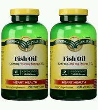 2x SPRING VALLEY 1200mg FISH OIL 360mg OMEGA-3 200 SOFTGELS EACH 11/18+