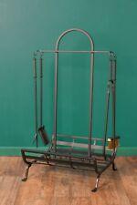 Large Iron Fire Companion Tool Set Wood Storage 5 Piece Accessories Vintage