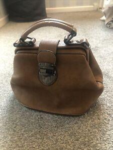 Ladies Bertie Tan Leather Bucket Satchel Bag