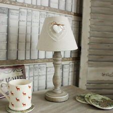 Wooden white washed table lamp linen shade shabby cottage chic home gift light