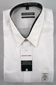 Geoffrey Beene Dress Shirt Mens 18.5 34/35 Classic Fit Wrinkle Free White NWT