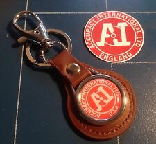 Accuracy International 'USA' Sniper Rifles,  LEATHER KEYRING, + Sticker