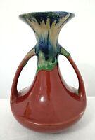 Vintage Ceramic Pottery 2 Handled Vase Deep Rose Blue Green Drip Made in Japan