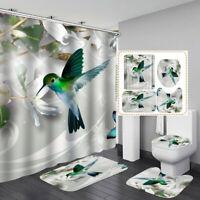 Hummingbird Art Door Bath Mat Toilet Cover Rugs Shower Curtain Bathroom Decor