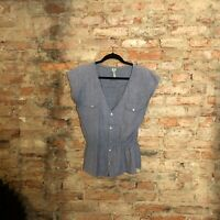 Urban Renewal Urban Outfitters Top Size M/L Chambray Upcycled Vintage Fabric