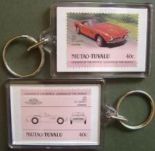 1958 BMW 507 Cabriolet Sports Car Stamp Keyring (Auto 100 Automobile)