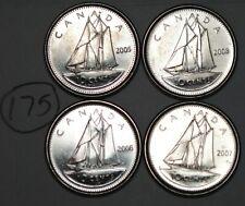 Canada 2005P, 2006L, 2007, 2008 10 cents Canadian Dimes Lot #175