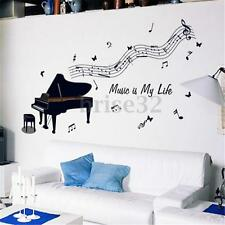 Removable Black Piano Music Notes Wall Art Vinyl Decal Sticker DIY Decoration