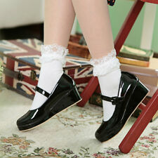 Ladies Patent Leather Ankle Strap Wedge Heel Cosplay Shoes Round Toe Lolita Shoe