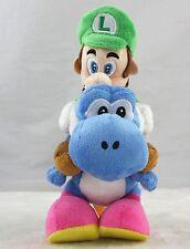 "Super Mario 10"" Plush Doll Luigi Riding On Blue Yoshi Stuffed Toy Best for Xmas"