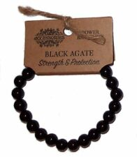BLACK AGATE POWER BRACELET Strength, Protection WICCA CRYSTAL HEALING GEMSTONE