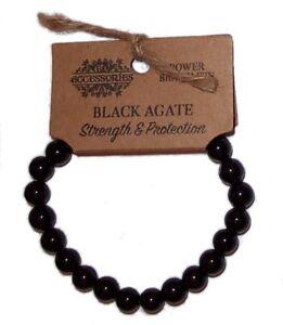 BLACK AGATE POWER BRACELET Strength, Protection WICCA CRYSTAL HEALING GEMSTONE