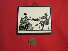 Vintage miniature dollhouse Colonial silhouette picture, man woman playing Chess