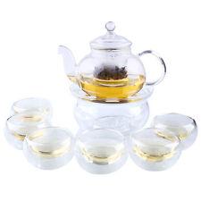Clear Glass Tea Pot Set Infuser Teapot+Warmer+6 Double Wall Tea Cup 800ML