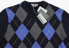 Men's DANIEL CREMIEUX Navy Argyle V-Neck CASHMERE Sweater XL Extra Large NWT NEW