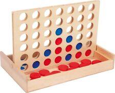 Vier in einer Reihe auf Reise Spiel Kinderspiel 4 Holz Gewinnt für Kinder Neu