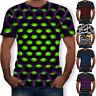 Mens 3D Geometric Print T-Shirt Casual Short Sleeve Crew Neck Basic Tee Tops  HO