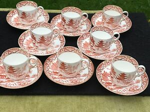Worcester Grainger Temple tea cup + saucer pagoda red gold white chinoiserie x 8