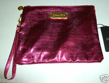YUMA BELLA PINK GLOSSY METALLIC SOFT FAUX CROC ZIPPERED WRISTLET CLUTCH HANDBAG