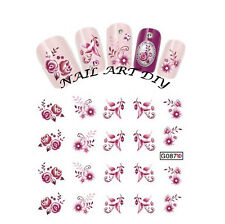 Nail Art water transfers Stickers-Decals-Adesivi Unghie FIORI VIOLA-Buy 3 Get 4