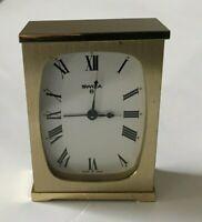 Vintage Swiza Swiss Made 8 Day Mantle Wind Alarm Clock Brass Tone Works Great!