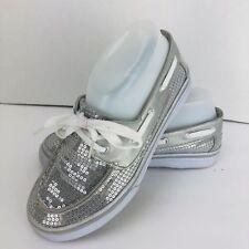 Disney Liz Maddie Girls Silver Sequin Shoe Size 4.5 Lace Tie Tennis Shoe Sneaker