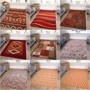 Terracotta & Red Rugs | Warm Large Living Room Rugs | Cheap Rugs For Bedroom UK