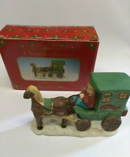 Russ Victorian Christmas Horse Drawn Stage Coach Porcelain Figurine #9703
