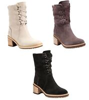 Timberland Womans Sienna High Water Proof Suede Boots Off White / Black / Purple