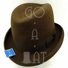 CLASSIC Wool Felt Men Homburg Top Hat Fedora Gutter Crown Royal | 57cm | Brown