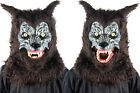 Animated Animal Werewolf Brown Face Mask With Moveable Jaw Halloween