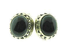 Onyx Filigree Studs Earrings in 925 Sterling Silver