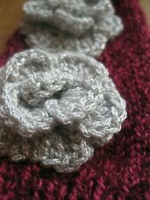 HAND KNITTED WARM LADIES FINGER LESS GLOVES. SILVER ROSES. MUM?