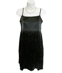 Accordian Pleated Tinsel Dress Size 1 S Small VIVIENNE TAM Shimmer Stretch Fancy
