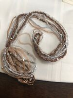 Vintage Bohemian Beaded multi Copper Brown Silver Necklace Bracelet Set 30""