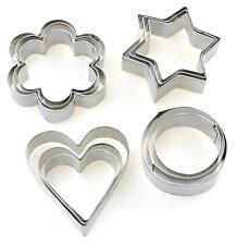 36x Cookie Cutters Set Stainless Steel Heart Round Flower Star 36 Piece Sets