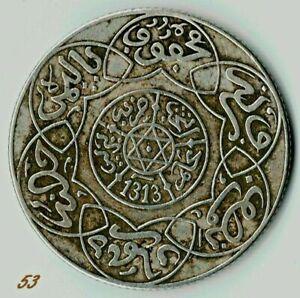 Marokko , Maroc , Morocco 1/4 Riyal 1313 AH Berlin Silber Münze Coin / 53