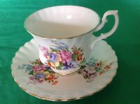 BONE CHINA CUP & SAUCER BY ROYAL ALBERT MULTICOLOR FLORAL PINK CABBAGE ROSES