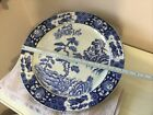 Large Japanese Antique Blue And White Charger Plate Signed