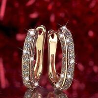 Women Round Crystal Rhinestone Hoop Ear Stud Earrings Wedding Bridal Jewelry