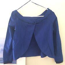 Zara Sapphire Off-shoulder Open Back Long Sleeve Cotton top