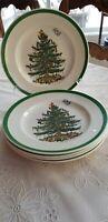 "5 Spode Iconic Christmas Tree Pattern S3324 Salad Plates England 7 3/4"""
