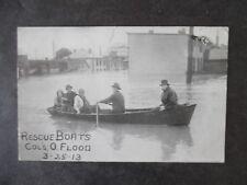March 25th 1913 Columbus Ohio Flood Rescue Boat Postcard & Cancel