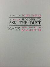 PROLOGUE TO ASK THE DUST BY JOHN FANTE *FIRST EDITION*SIGNED*