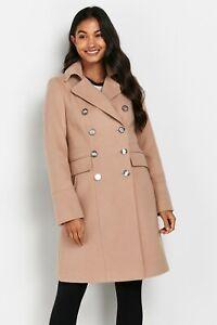New Womens Wallis Longline Faux Wool Revere Coat Stone Sz 12 (A2)
